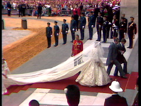 charles and diana wedding: live special: part four: ceremony:; england: london: st paul's cathedral: gvs lady diana spencer from carriage and up... - wedding stock videos & royalty-free footage