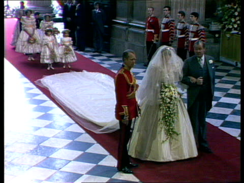charles and diana wedding: live special: part four: ceremony:; england: london: st paul's cathedral: ext gvs lady diana spencer seen from outside int... - cathedral stock videos & royalty-free footage