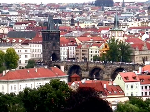 charles bridge and hradcany castle in prague - charles bridge stock videos & royalty-free footage