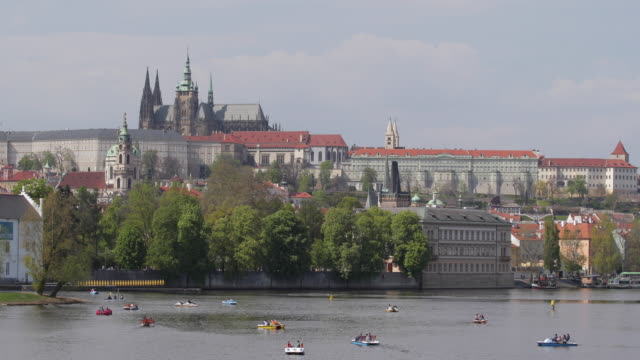 charles bridge, hradcany castle in prague - stare mesto stock videos & royalty-free footage