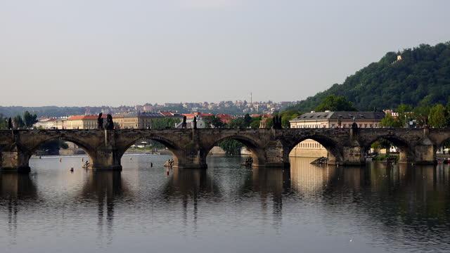 charles bridge in prague, czech republic - charles bridge stock videos & royalty-free footage