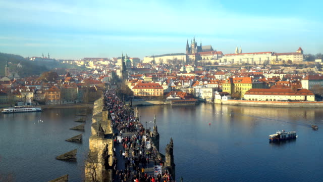charles bridge in prague, time lapse - prague old town square stock videos & royalty-free footage