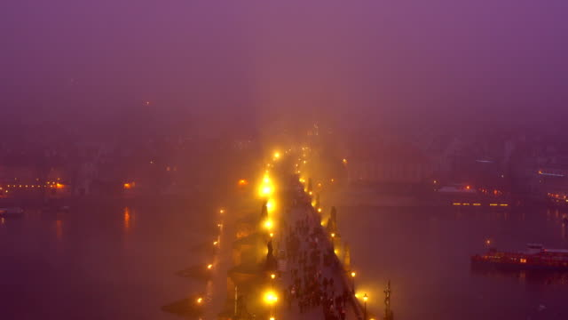 charles bridge in prague, time lapse - charles bridge stock videos and b-roll footage