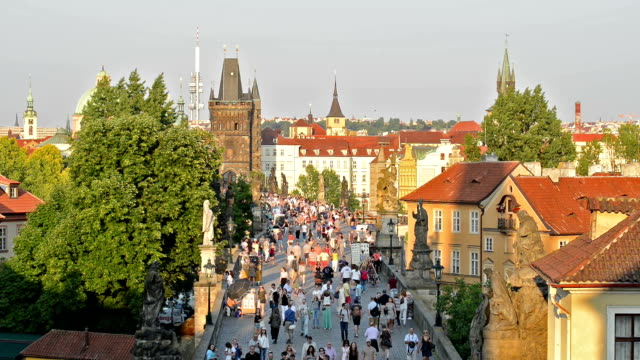 charles bridge in prague - prague stock videos & royalty-free footage