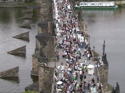 charles bridge in prague - charles bridge stock videos and b-roll footage