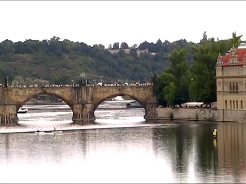 charles bridge in prague - charles bridge stock videos & royalty-free footage