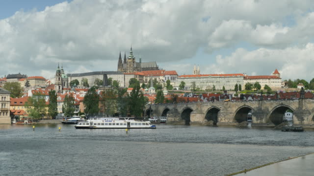 charles bridge, prague castle and st. vitus's cathedral, prague - hradcany castle stock videos and b-roll footage