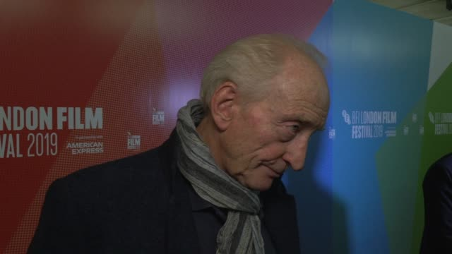 charles dance on farms, his role in the film, flooding on the set and costar chemistry on october 10, 2019 in london, england. - schauspieler stock-videos und b-roll-filmmaterial