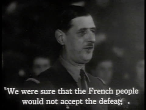 charles de gaulle speaking saying they were sure french would not accept defeat not disown us finish war victoriously ws people applauding world war... - charles de gaulle stock videos & royalty-free footage