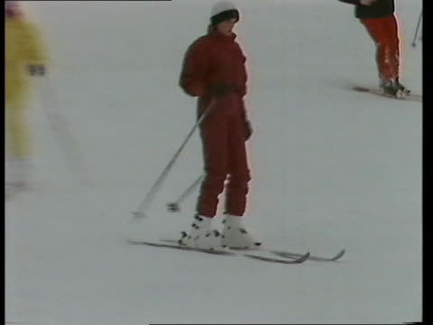charles / di holiday charles / di holiday liechtenstein gv vaduz castle gv ski lifts working zoom in group of skiers ls prince charles towards to bv... - skiing stock videos & royalty-free footage