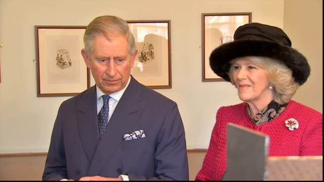 charles dickens bicentenary celebrations: charles and camilla visit dickens museum; various of charles and camilla looking at doll's house ext... - charles dickens stock videos & royalty-free footage