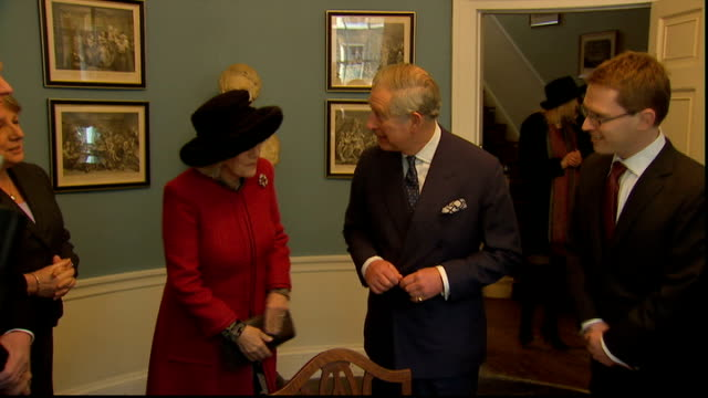 charles and camilla visit dickens museum england london doughty street throughout ** gillian anderson laughing then saying 'be serious' as waiting... - gillian anderson stock videos & royalty-free footage