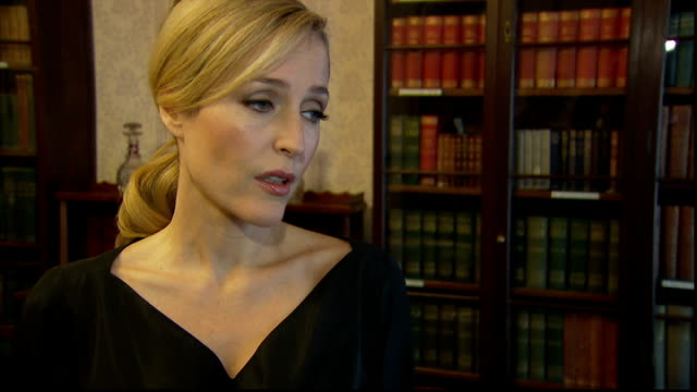 gillian anderson interview anderson interview sot on recent adaptation of great expectations in which she olayed miss havisham - charles dickens stock videos & royalty-free footage