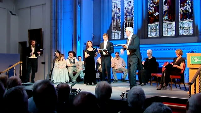charles dickens bicentenary celebrations: guildhall performance in front of queen elizabeth; performance of dickens readings and scenes continued sot - charles dickens stock videos & royalty-free footage