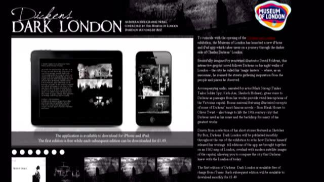 charles dickens exhibition at the museum of london; close shots of museum of london download app of charles dickens - charles dickens bildbanksvideor och videomaterial från bakom kulisserna