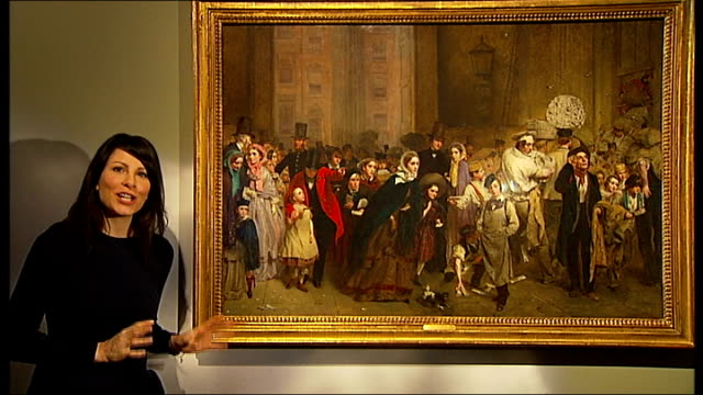 charles dickens exhibition at the museum of london reporter to camera beside painting showing people queuing to use the penny post in 1840 - charles dickens stock videos & royalty-free footage