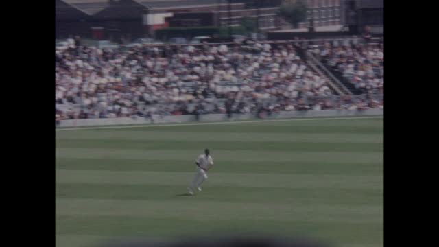 Charles Griffith of the West Indies bowling during the 1st Test Match between England and the West Indies at Old Trafford in June 1966