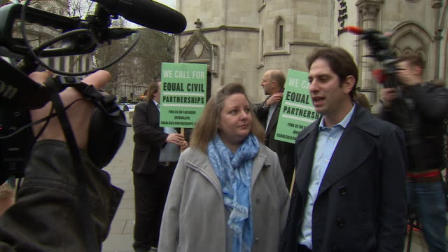 Charles Keidan and Rebecca Steinfeld outside court after judges rule against them entering into a heterosexual civil partnership
