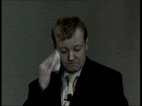 charles kennedy admits drink problem / calls for leadership election itv evening news libby wiener charles kennedy mp at podium wiping face with... - charles kennedy stock videos & royalty-free footage