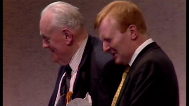 charles kennedy at southport liberal democrat rally with cyril smith **please note incidental music in background may require clearance** - charles kennedy stock videos & royalty-free footage