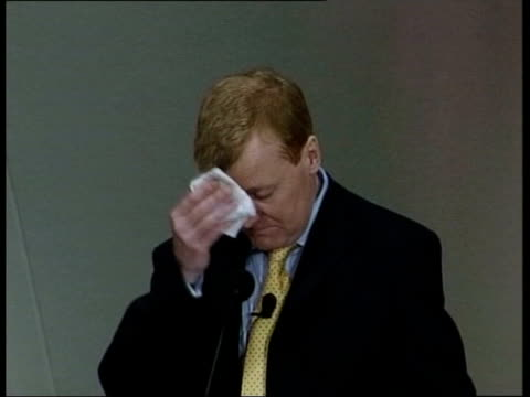 stockvideo's en b-roll-footage met drink problem rumours lib england lancashire southport charles kennedy mp standing behind podium at the liberal democrats spring party conference... - southport engeland