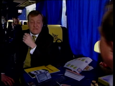 charles kennedy leadership speculation file / march 2005 kennedy being interviewed as along in battle bus during election campaign - charles kennedy stock videos & royalty-free footage