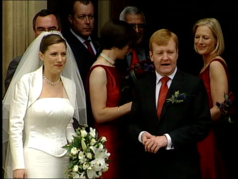 charles kennedy marries sarah gurling itn london westminster house of commons charles kennedy mp and wife sarah gurling towards from chapel and pose... - charles kennedy stock videos & royalty-free footage