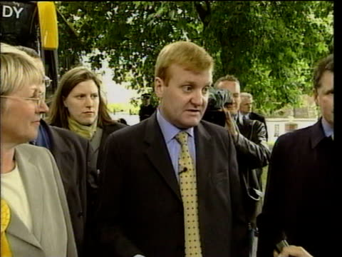 charles kennedy off battle bus and along talking to reporter sot it's been fought on basic point of more quality public services funded fairly out of... - charles kennedy stock videos & royalty-free footage