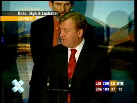 "charles kennedy speech sot - thanks the election officials / ""it is a new challenge, a new opportunity for this new constituency but it's also new... - david dimbleby stock videos & royalty-free footage"