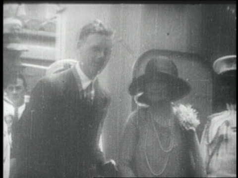 charles lindbergh + mother disembarking from ship - 1927 stock videos & royalty-free footage