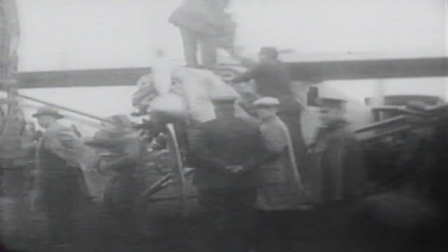 charles lindbergh poses with his place before taking off across atlantic / united states - charles lindbergh stock videos & royalty-free footage