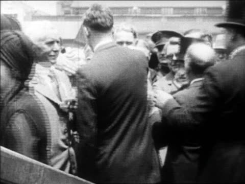 charles lindbergh shaking hands with dignitaries upon return to us / newsreel - 1927 stock videos & royalty-free footage