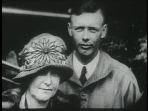charles lindbergh standing with mother by the spirit of st. louis airplane / ny - adult offspring stock videos & royalty-free footage