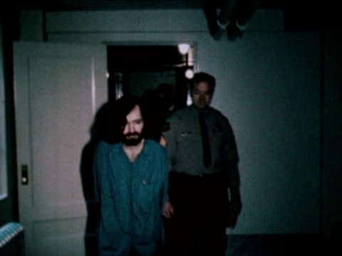charles manson escorted by prison officers 1971 - prison guard stock videos and b-roll footage