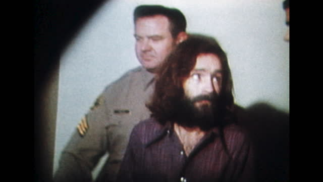 charles manson is led to the courtroom by guards for the trial of the tate–labianca murders. - raw footage stock videos & royalty-free footage