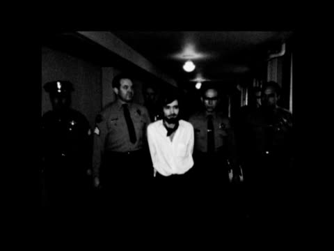 verdict:; usa: california: los angeles: los angeles county court: int charles manson towards l-r to bv along corridor three girls patricia... - raw footage stock videos & royalty-free footage