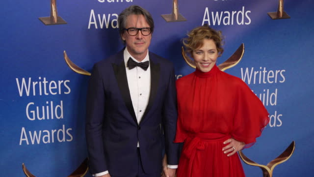 charles randolph and mili avital at the 2020 writers guild awards at the beverly hilton hotel on february 01, 2020 in beverly hills, california. - the beverly hilton hotel stock videos & royalty-free footage