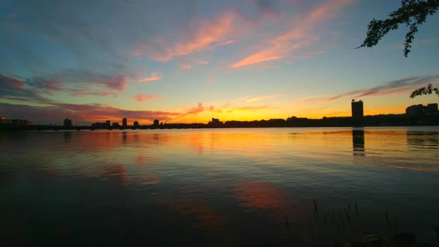 charles river sunset - river charles stock videos & royalty-free footage