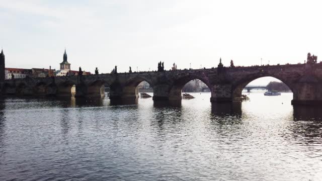 charlese bridge and vltava river in prague, czech republic - vltava river stock videos & royalty-free footage