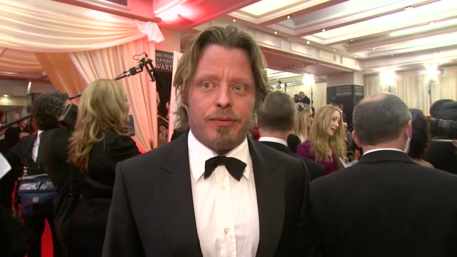 charlie boorman on how he feels about his father getting the lifetime achievement award at the irish film television awards at dublin - television awards stock videos & royalty-free footage
