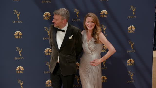 vídeos de stock, filmes e b-roll de charlie brooker and annabel jones at the 70th emmy awards arrivals at microsoft theater on september 17 2018 in los angeles california - 70th annual primetime emmy awards