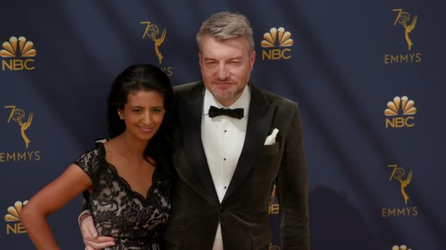 charlie brooker and konnie huq at the 70th emmy awards arrivals at microsoft theater on september 17 2018 in los angeles california - 70th annual primetime emmy awards stock videos and b-roll footage