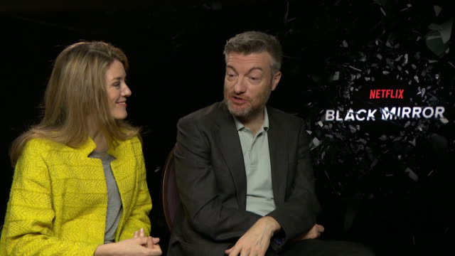 vídeos de stock e filmes b-roll de charlie brooker, annabel jones on tech now fuelling parental paranoia at 'black mirror' interview at corinthia hotel london on november 13, 2017 in... - paranoia