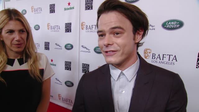 interview charlie heaton on why the bafta la tv tea party is a mustattend event what he is most looking forward to why brits are such a vital part of... - bafta la tea party stock videos and b-roll footage