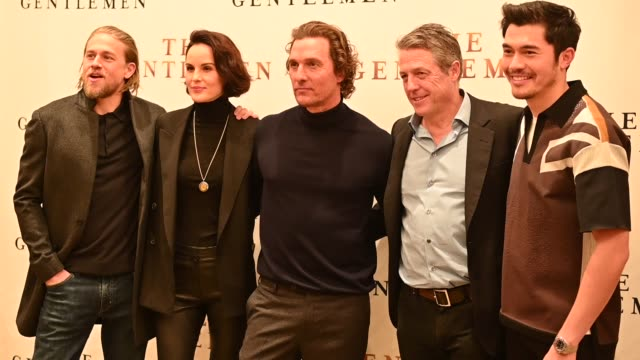 charlie hunnam michelle dockery matthew mcconaughey hugh grant henry golding at the the gentlemen new york photo call at the whitby hotel on january... - photo call stock videos & royalty-free footage