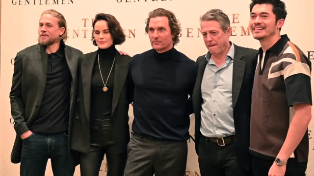 charlie hunnam michelle dockery matthew mcconaughey hugh grant henry golding at the the gentlemen new york photo call at the whitby hotel on january... - arts culture and entertainment stock videos & royalty-free footage