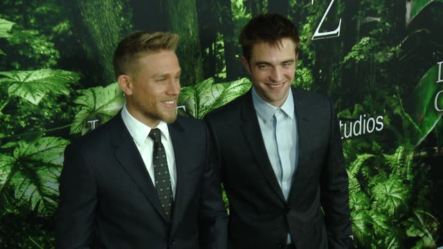 """charlie hunnam, robert pattinson at premiere of amazon studios' """"the lost city of z"""" - arrivals at arclight cinemas on april 05, 2017 in hollywood,... - arclight cinemas hollywood stock videos & royalty-free footage"""