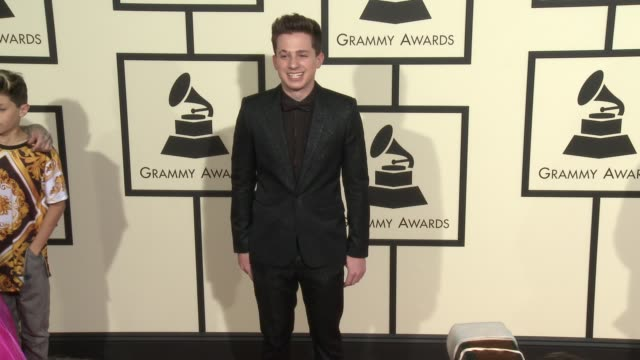 charlie puth at the 58th annual grammy awards® arrivals at staples center on february 15 2016 in los angeles california - grammy awards stock videos and b-roll footage