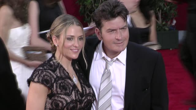 charlie sheen and brooke mueller at the 61st annual primetime emmy awards - arrivals part 4 at los angeles ca. - annual primetime emmy awards stock videos & royalty-free footage