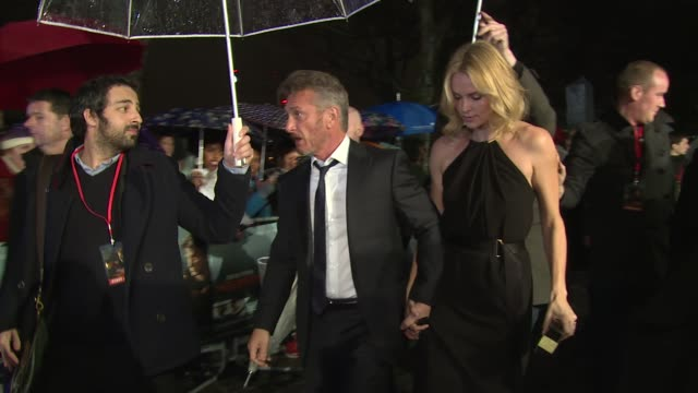 Charlize Theron and Sean Penn at the world premiere of The Gunman on 16th February 2015 in London England